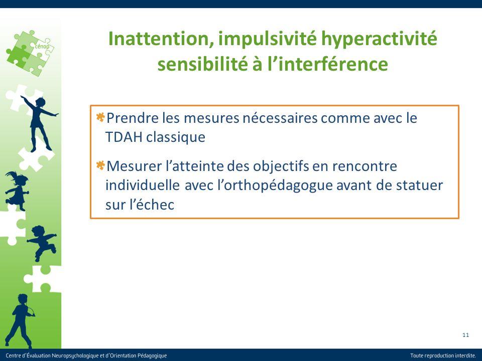 Inattention, impulsivité hyperactivité sensibilité à l'interférence