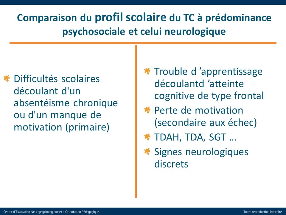 Comparaison du profil scolaire du TC à prédominance psychosociale et celui neurologique