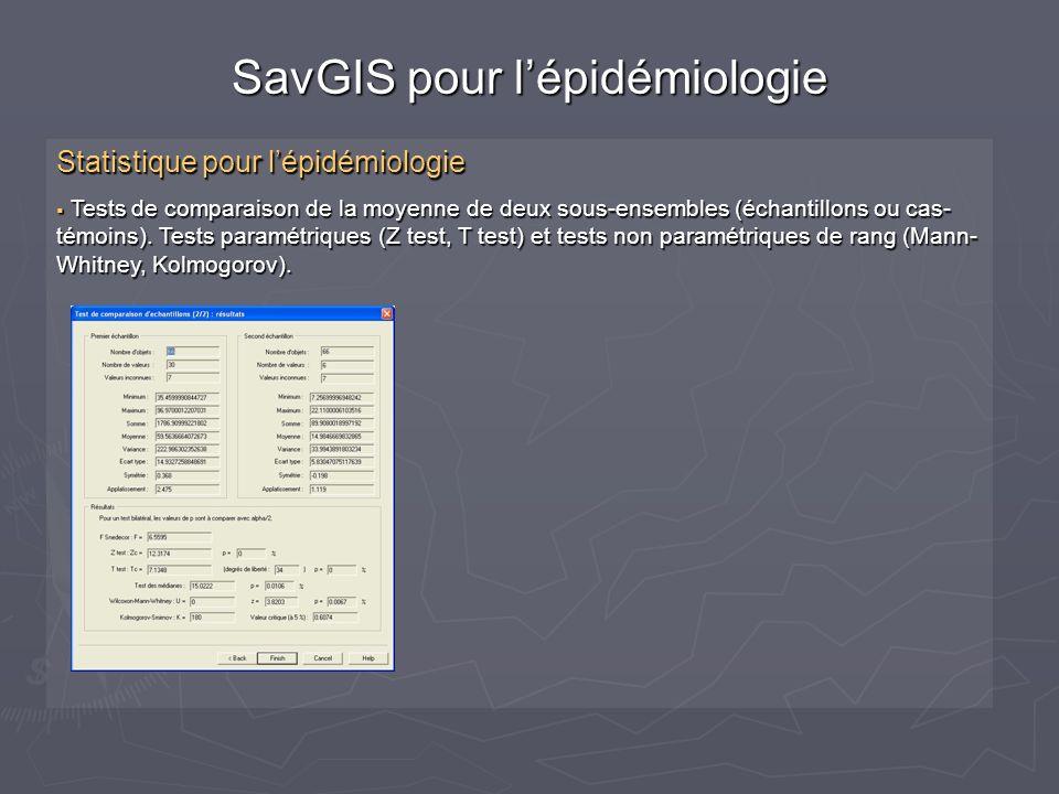 SavGIS pour l'épidémiologie