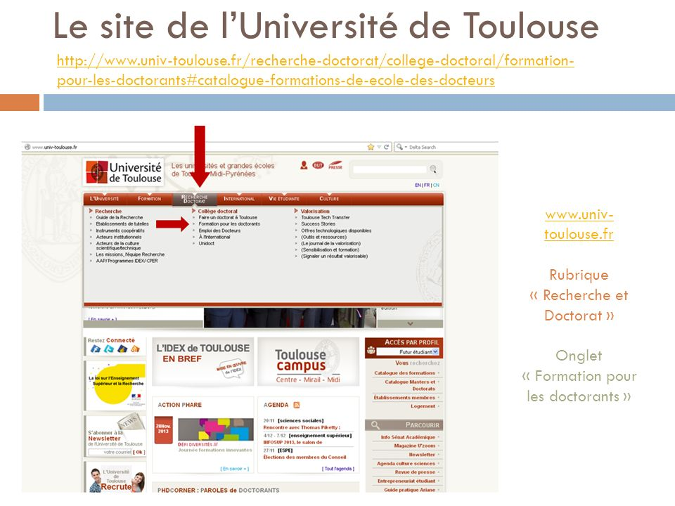 Le site de l'Université de Toulouse
