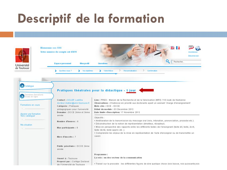 Descriptif de la formation