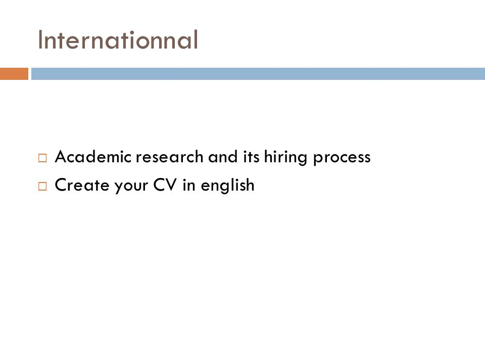 Internationnal Academic research and its hiring process