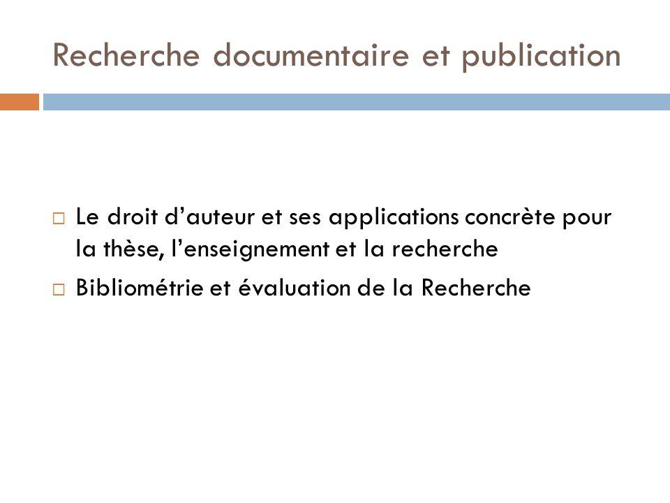 Recherche documentaire et publication