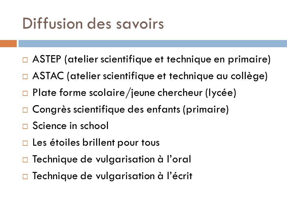 Diffusion des savoirs ASTEP (atelier scientifique et technique en primaire) ASTAC (atelier scientifique et technique au collège)