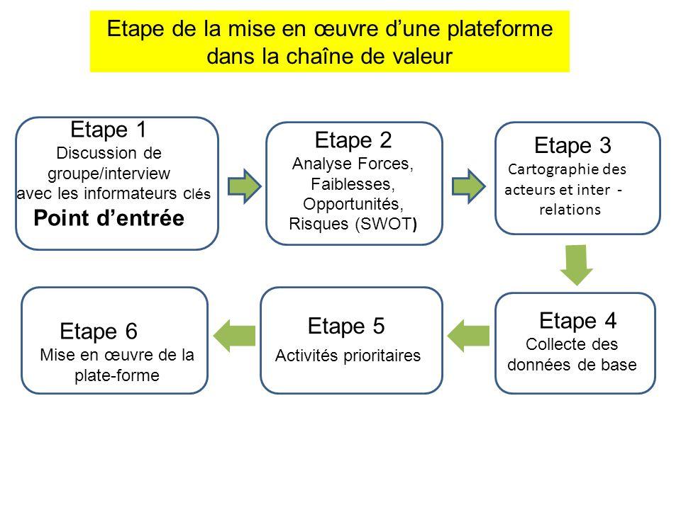 Etape de la mise en œuvre d'une plateforme dans la chaîne de valeur