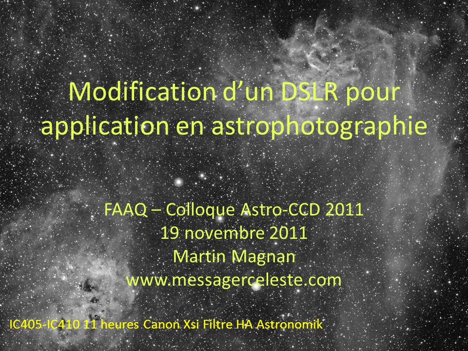 Modification d'un DSLR pour application en astrophotographie