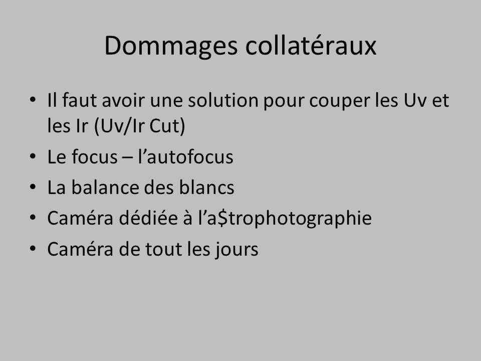 Dommages collatéraux Il faut avoir une solution pour couper les Uv et les Ir (Uv/Ir Cut) Le focus – l'autofocus.