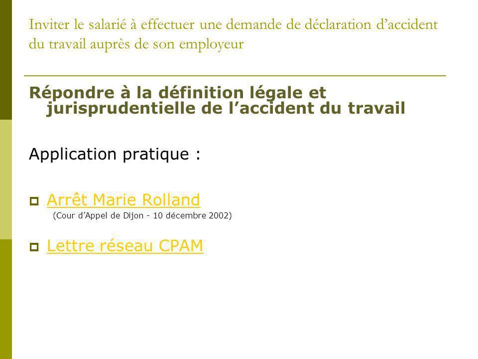 Application pratique : Arrêt Marie Rolland Lettre réseau CPAM