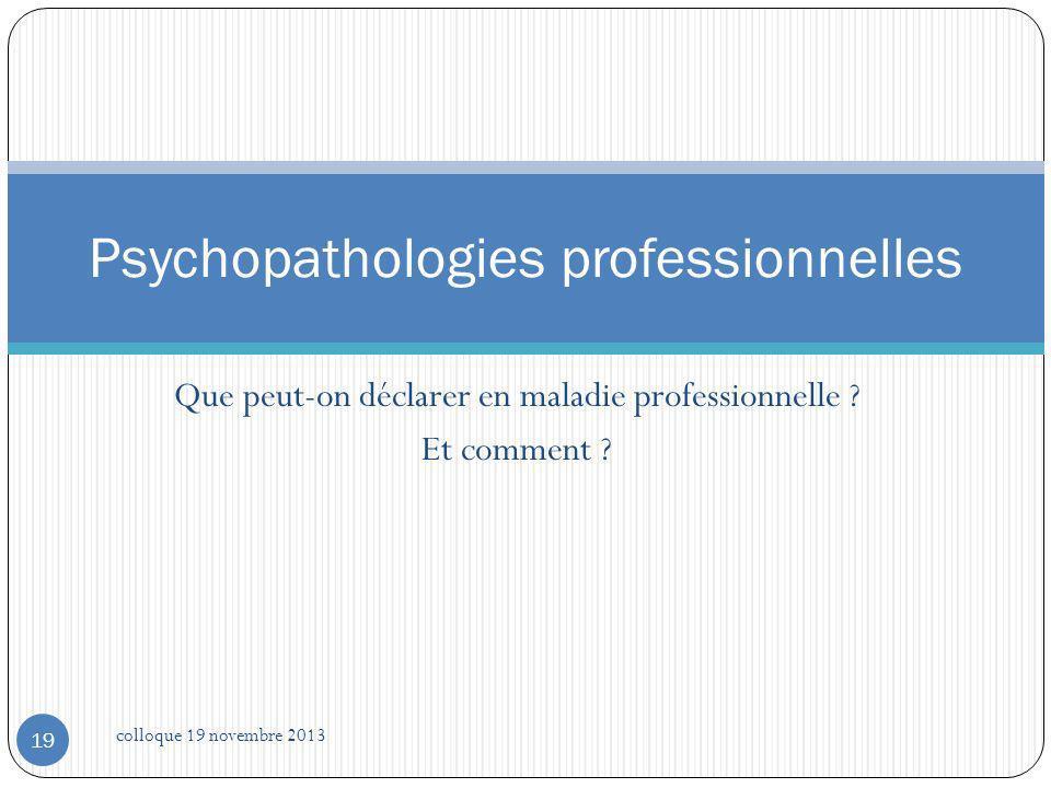 Psychopathologies professionnelles