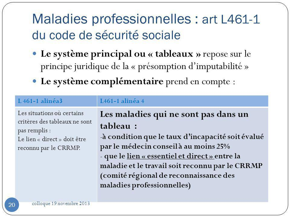 Maladies professionnelles : art L461-1 du code de sécurité sociale