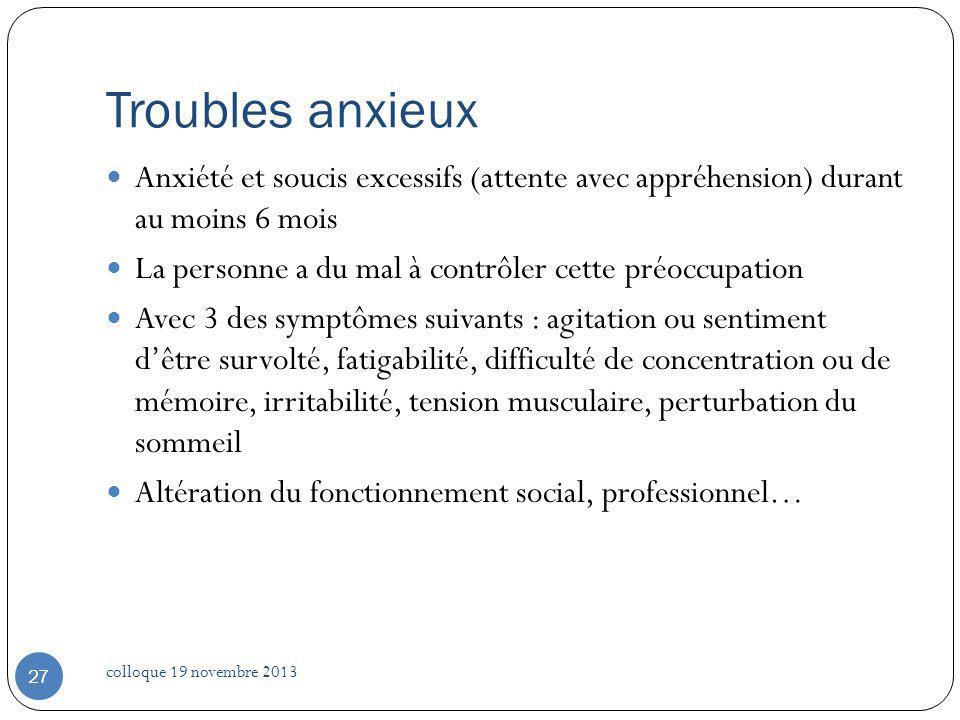 Troubles anxieux Anxiété et soucis excessifs (attente avec appréhension) durant au moins 6 mois.