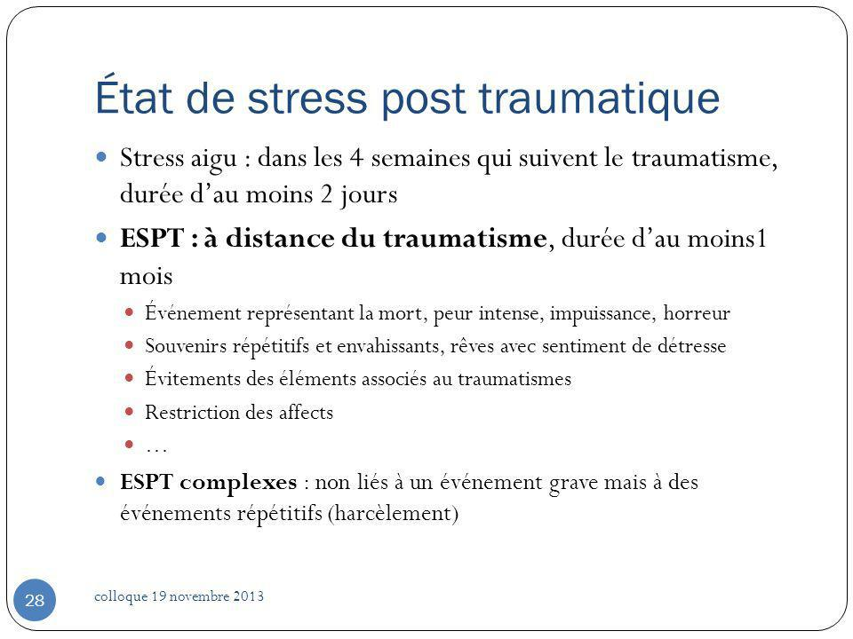 État de stress post traumatique