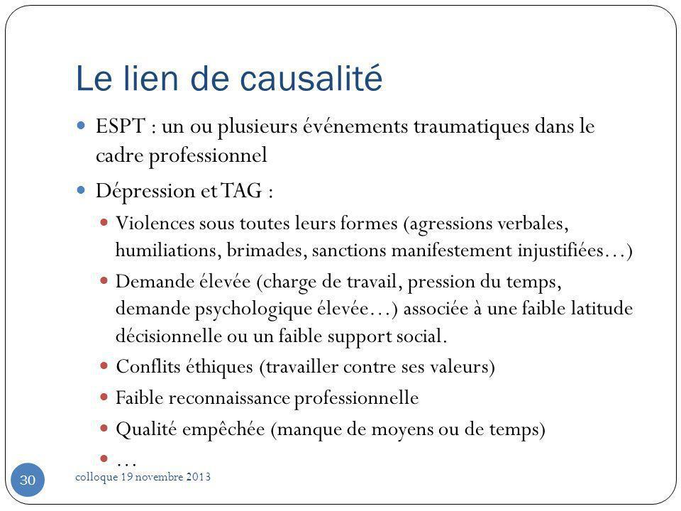 Le lien de causalité ESPT : un ou plusieurs événements traumatiques dans le cadre professionnel. Dépression et TAG :
