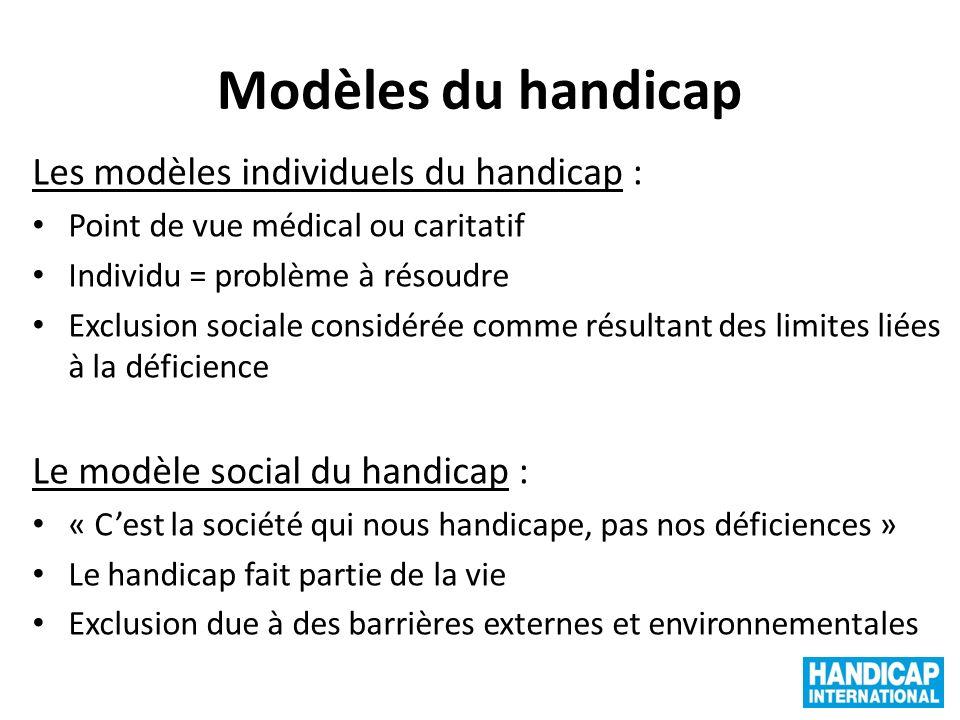 Modèles du handicap Les modèles individuels du handicap :