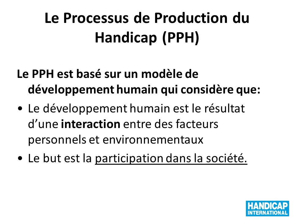 Le Processus de Production du Handicap (PPH)