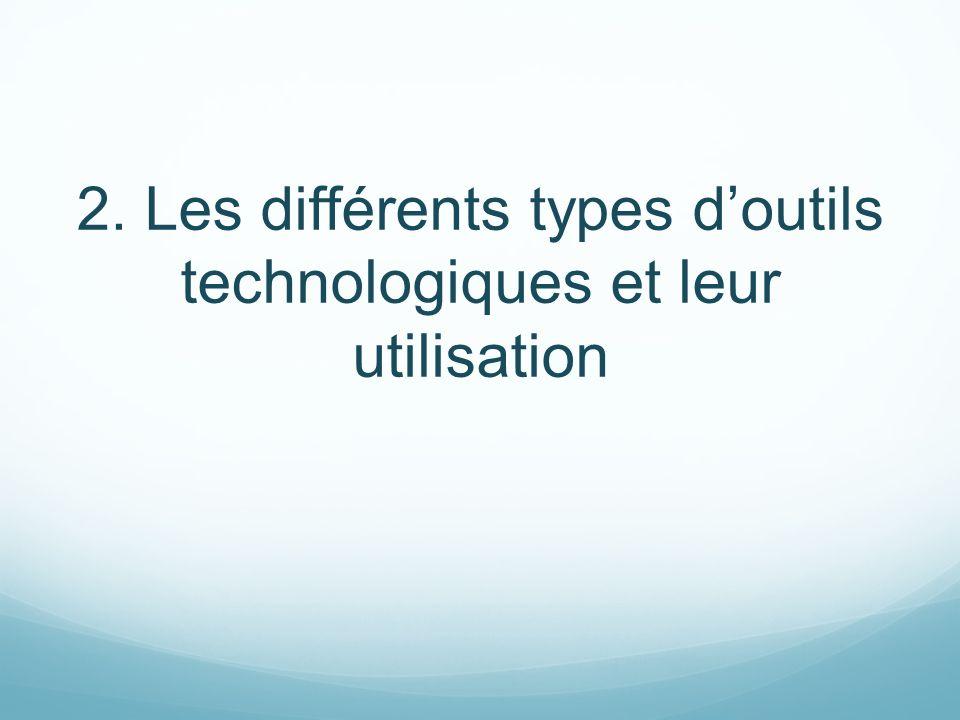 2. Les différents types d'outils technologiques et leur utilisation