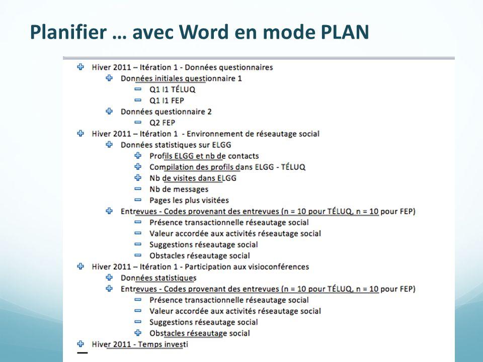 Planifier … avec Word en mode PLAN