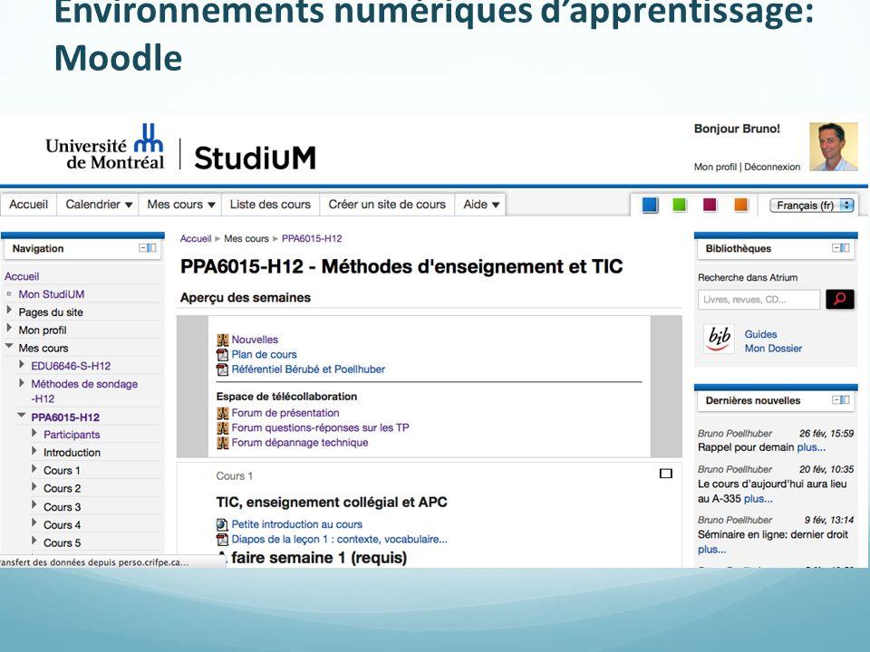 Environnements numériques d'apprentissage: Moodle
