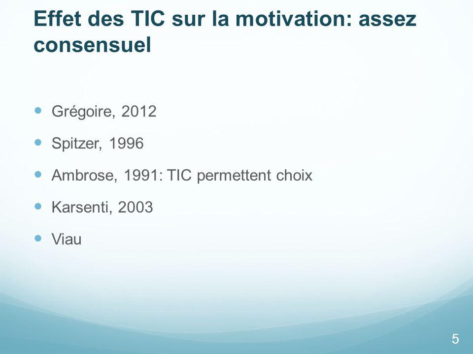 Effet des TIC sur la motivation: assez consensuel