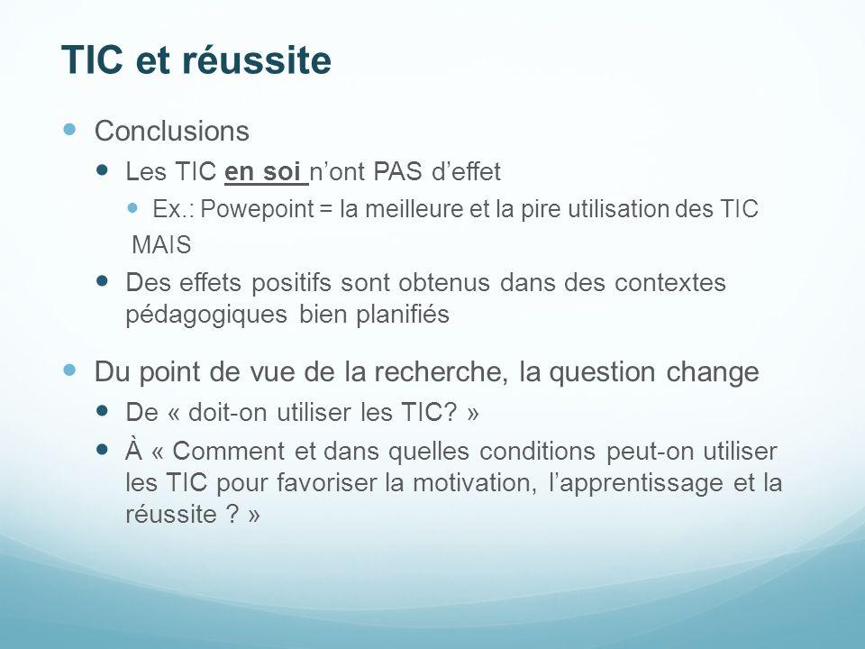 TIC et réussite Conclusions