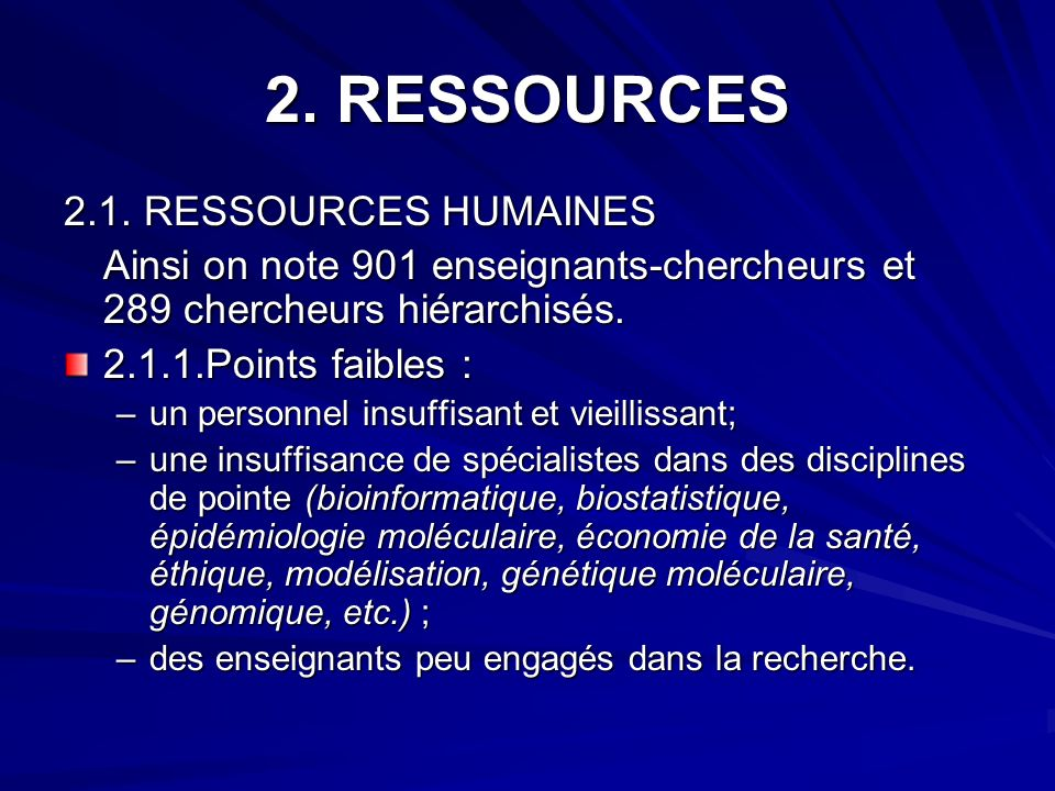 2. RESSOURCES 2.1. RESSOURCES HUMAINES