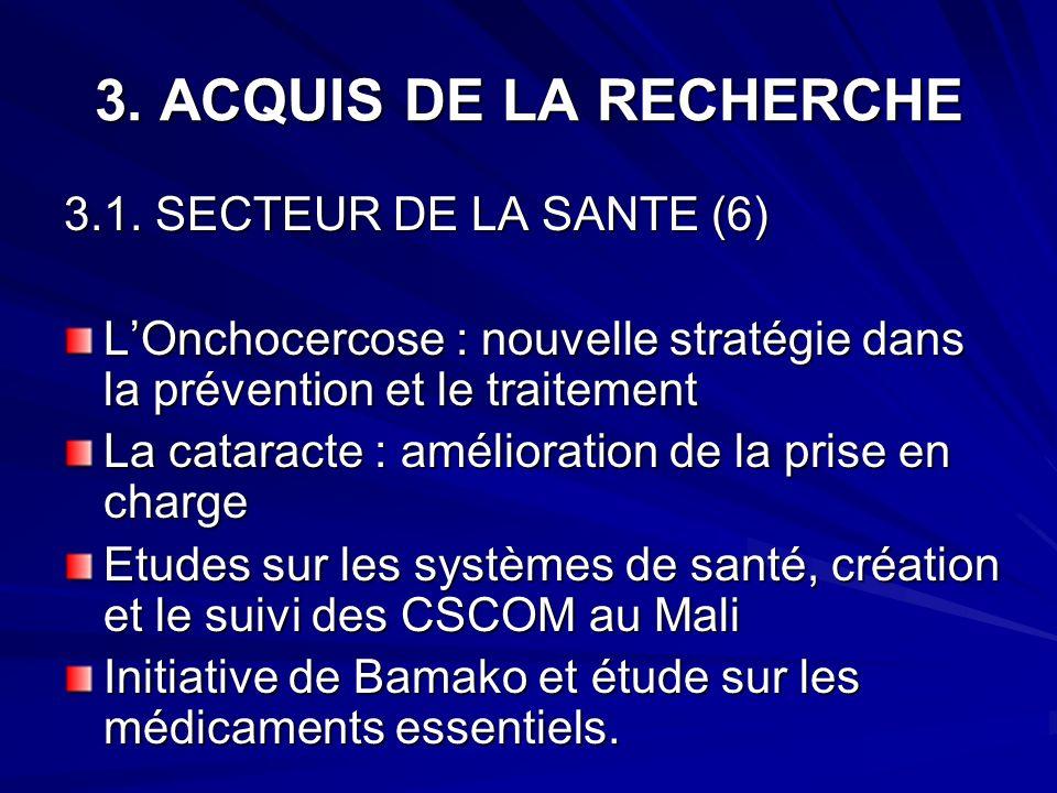 3. ACQUIS DE LA RECHERCHE 3.1. SECTEUR DE LA SANTE (6)