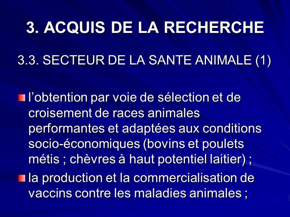 3. ACQUIS DE LA RECHERCHE 3.3. SECTEUR DE LA SANTE ANIMALE (1)