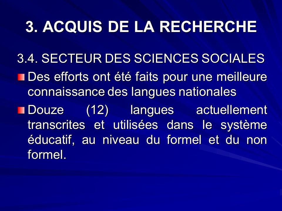 3. ACQUIS DE LA RECHERCHE 3.4. SECTEUR DES SCIENCES SOCIALES