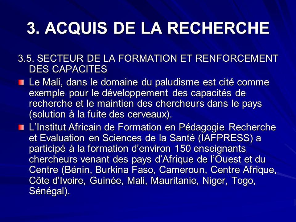 3. ACQUIS DE LA RECHERCHE 3.5. SECTEUR DE LA FORMATION ET RENFORCEMENT DES CAPACITES.