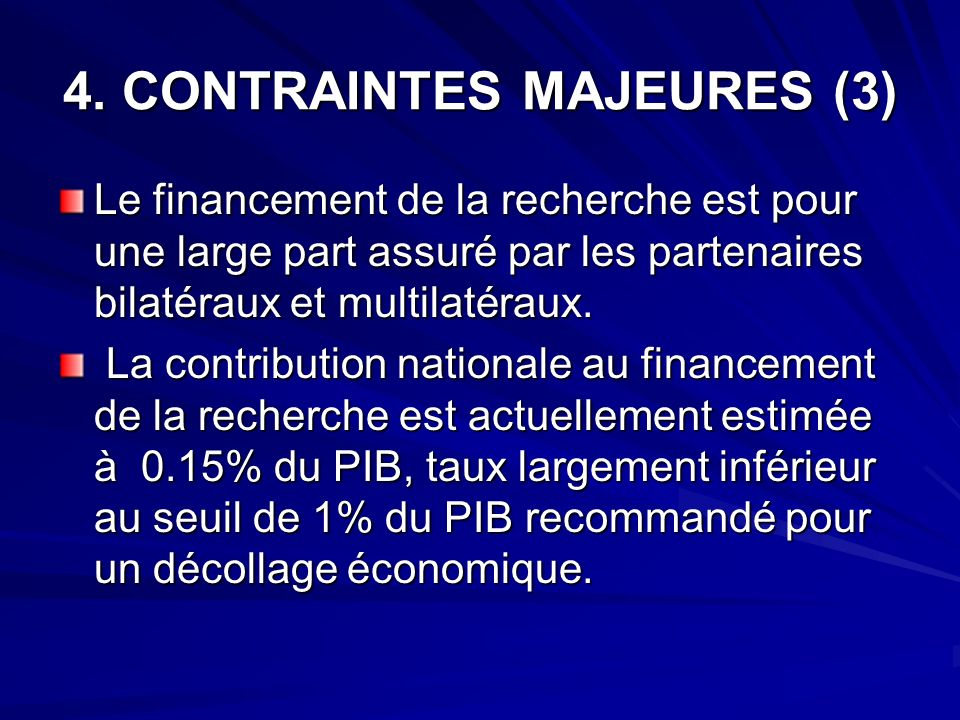 4. CONTRAINTES MAJEURES (3)