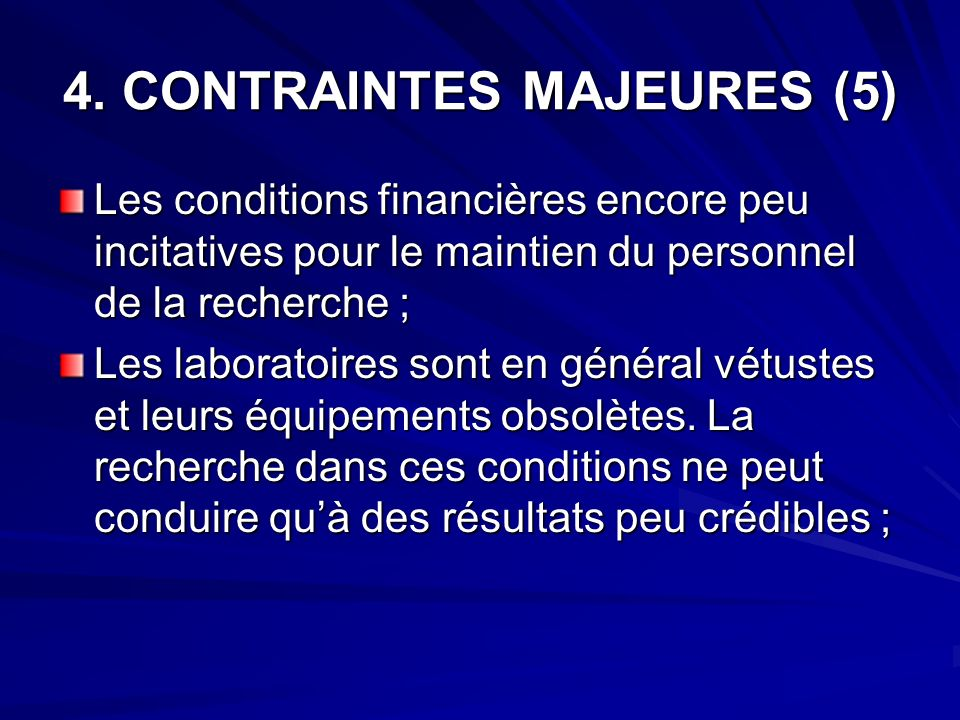 4. CONTRAINTES MAJEURES (5)
