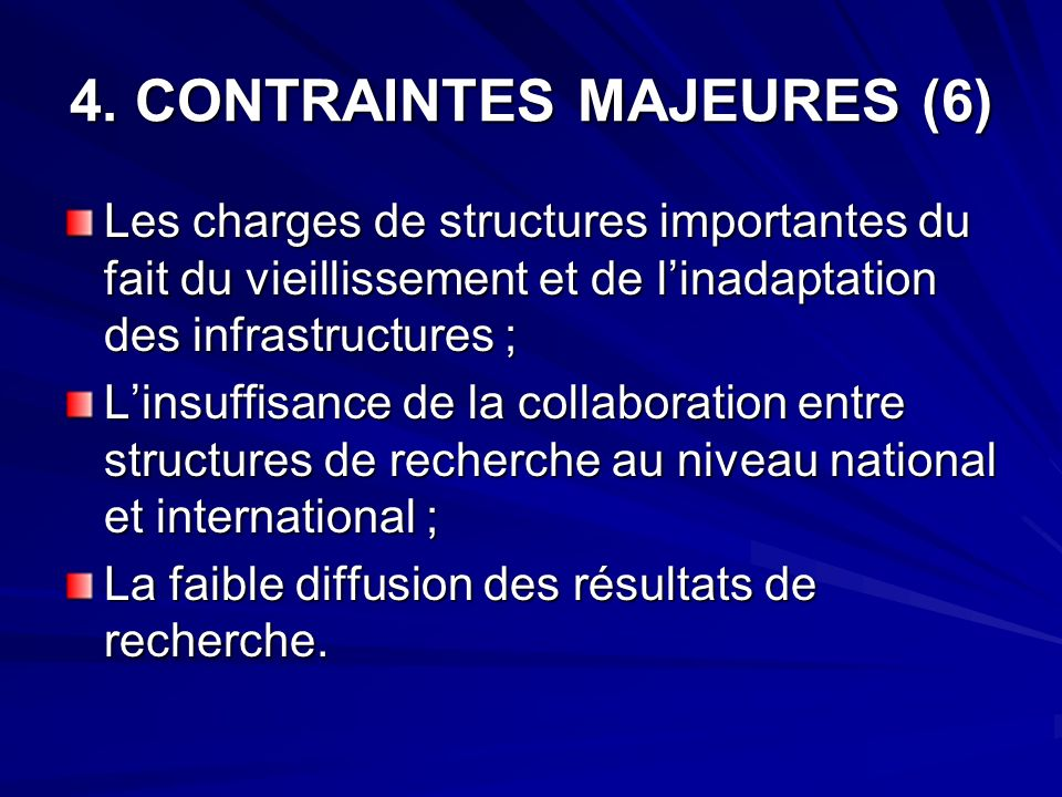 4. CONTRAINTES MAJEURES (6)