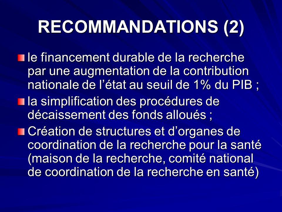 RECOMMANDATIONS (2) le financement durable de la recherche par une augmentation de la contribution nationale de l'état au seuil de 1% du PIB ;