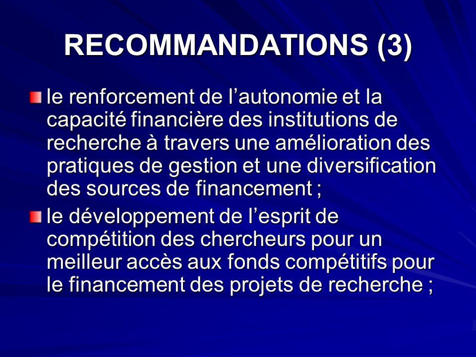 RECOMMANDATIONS (3)