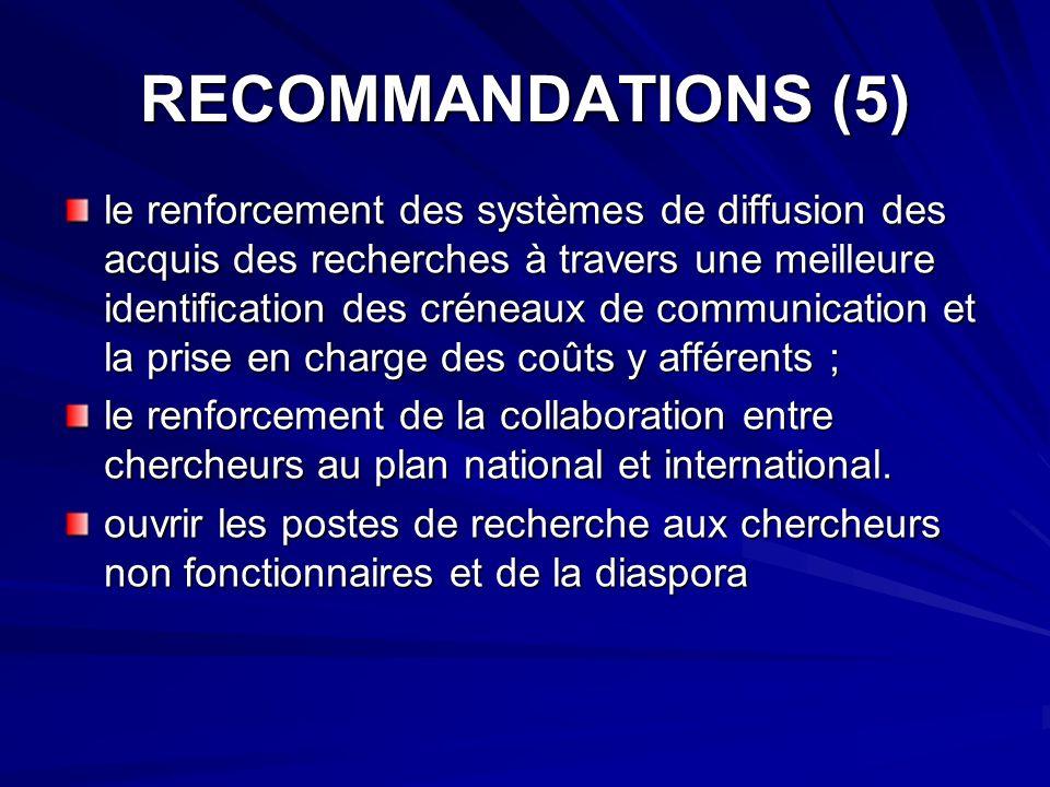 RECOMMANDATIONS (5)