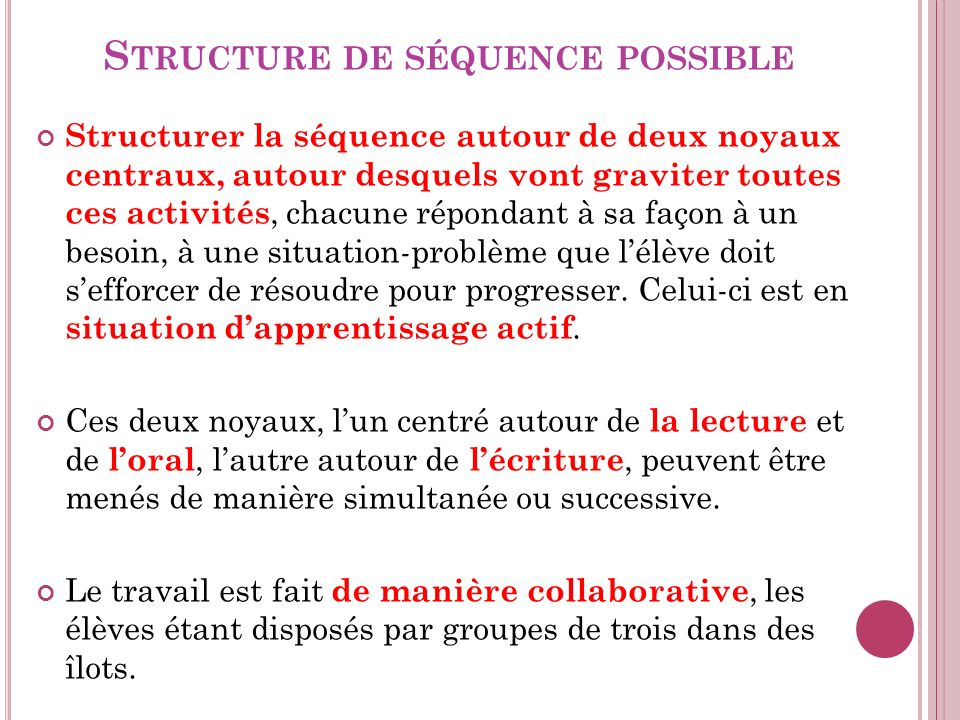 Structure de séquence possible