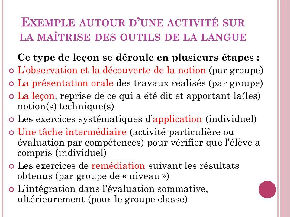 Exemple autour d'une activité sur la maîtrise des outils de la langue