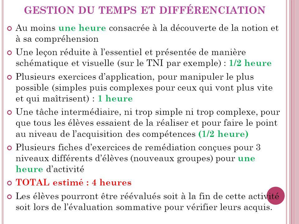 gestion du temps et différenciation