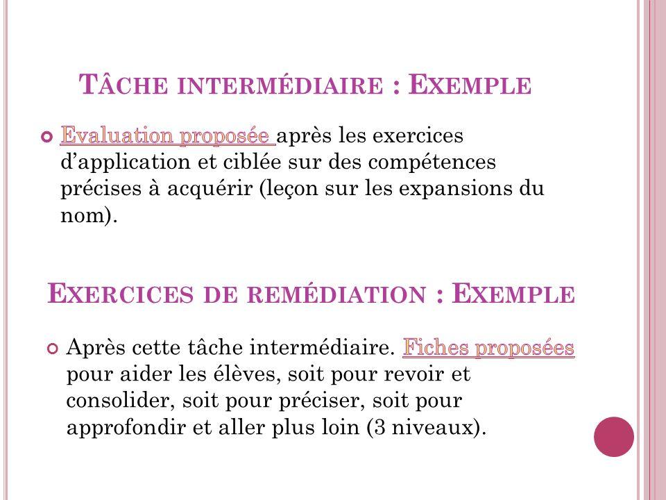 Tâche intermédiaire : Exemple