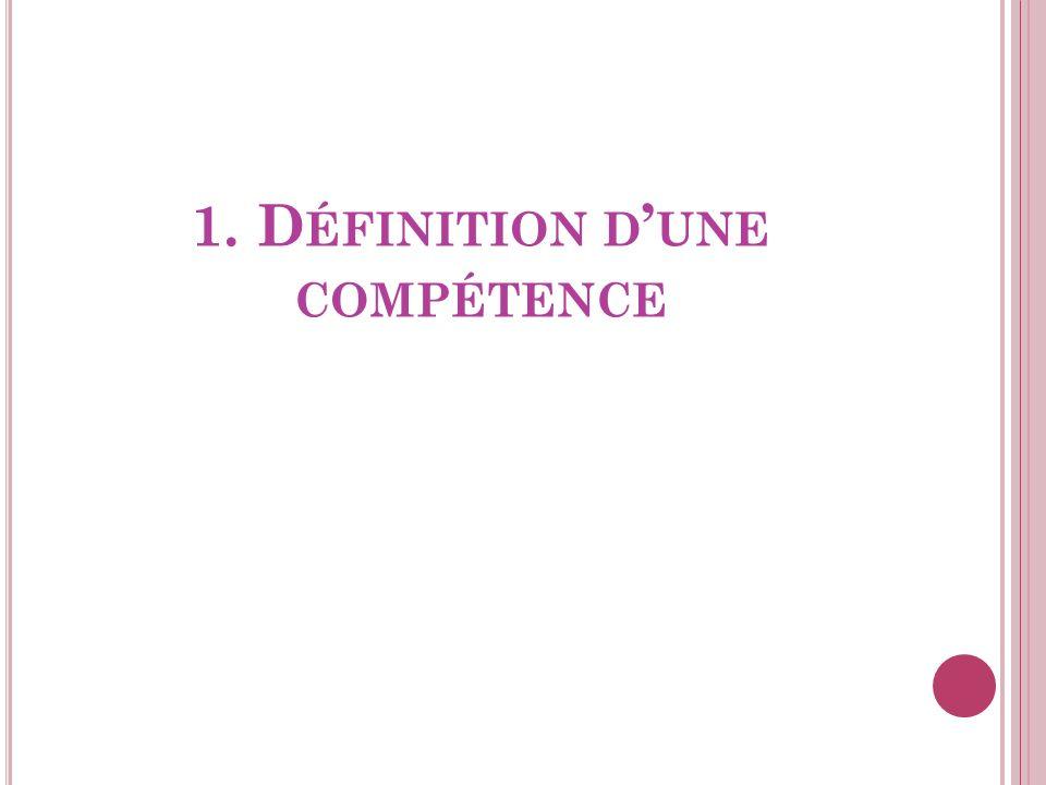 1. Définition d'une compétence