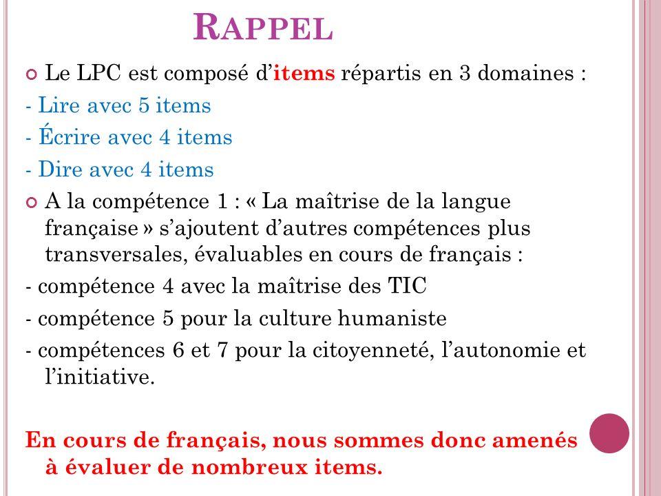 Rappel Le LPC est composé d'items répartis en 3 domaines :