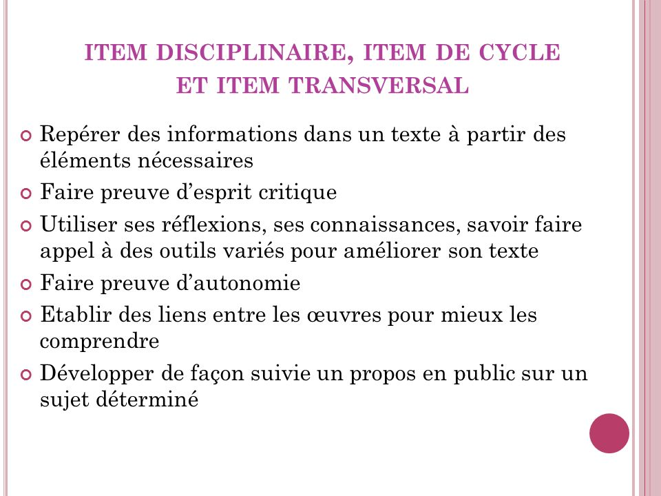 item disciplinaire, item de cycle et item transversal