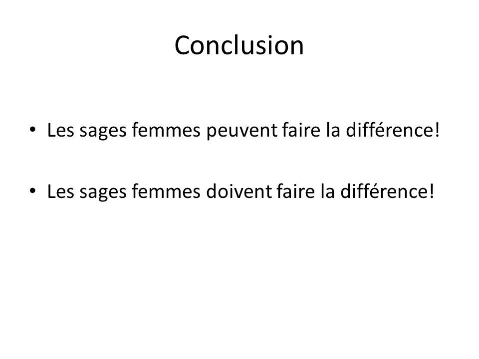 Conclusion Les sages femmes peuvent faire la différence!