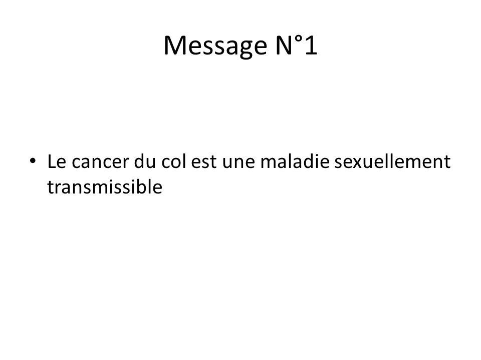 Message N°1 Le cancer du col est une maladie sexuellement transmissible