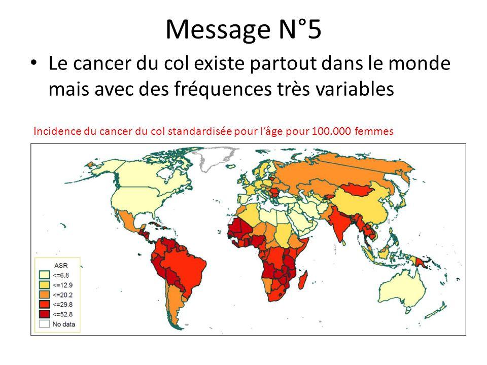 Message N°5 Le cancer du col existe partout dans le monde mais avec des fréquences très variables.