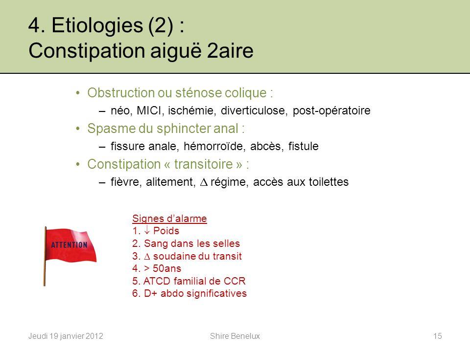 4. Etiologies (2) : Constipation aiguë 2aire