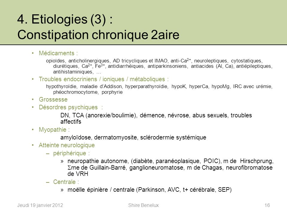 4. Etiologies (3) : Constipation chronique 2aire