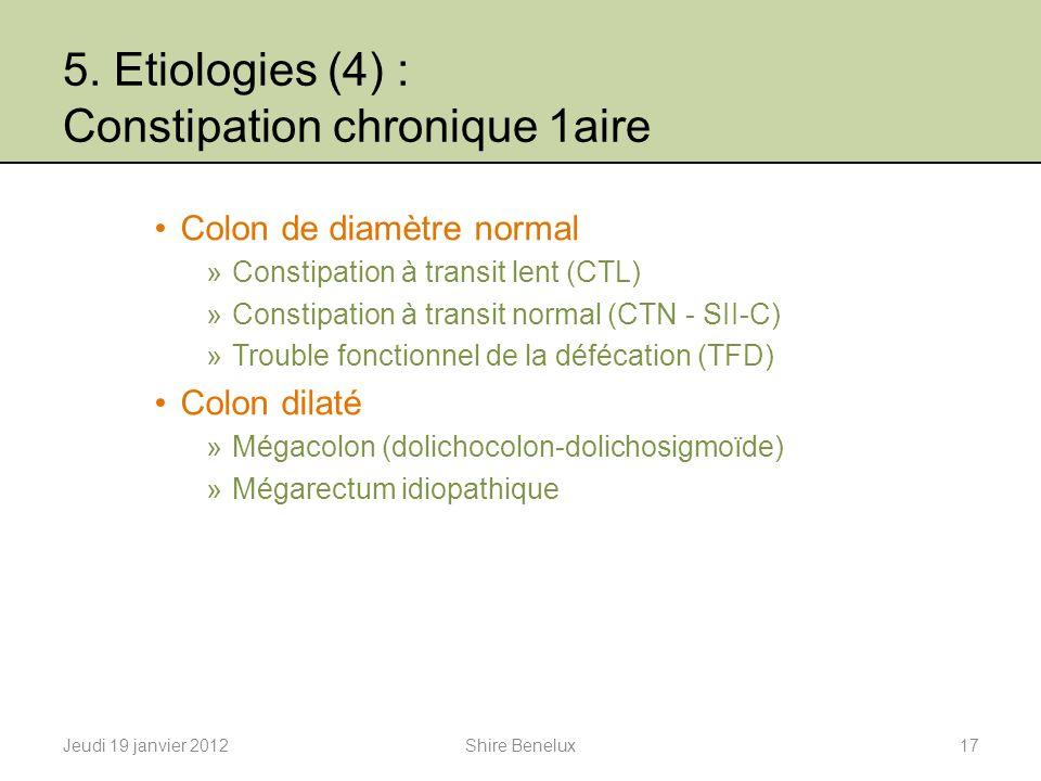 5. Etiologies (4) : Constipation chronique 1aire