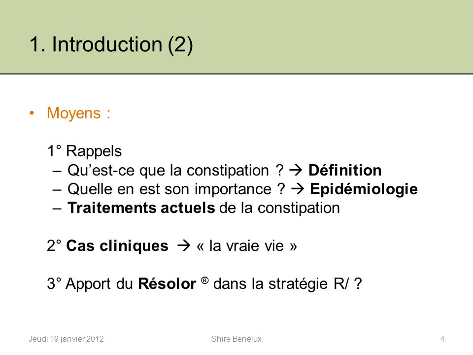 1. Introduction (2) Moyens : 1° Rappels