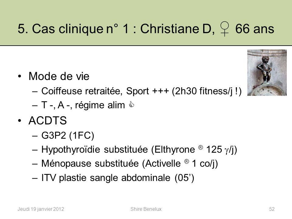 5. Cas clinique n° 1 : Christiane D, ♀ 66 ans